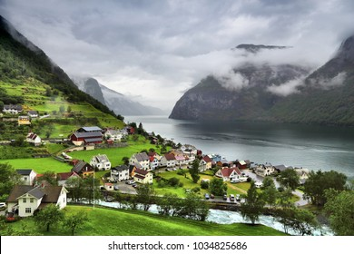 Norway fiord landscape - Aurlandsfjord, part of Sognefjord. Town of Undredal.