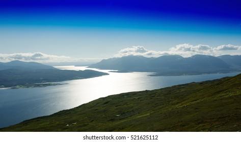 Norway fjord channels landscape background