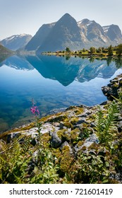 Norway fjord mountains with reflection in summer