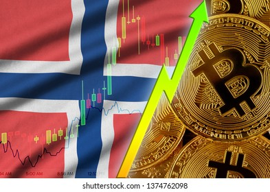 Norway flag and cryptocurrency growing trend with many golden bitcoins