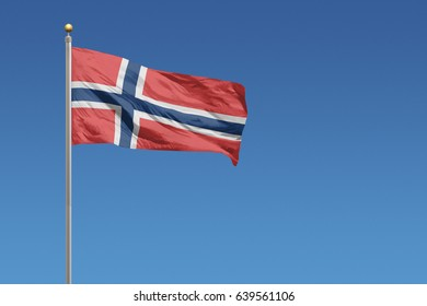 Norway Flag of in front of a clear blue sky