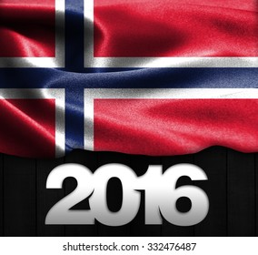 Norway Flag & Happy New Year 2016 typography on wood texture background
