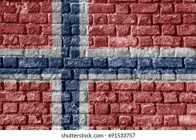 Norway Flag Painted on brick wall