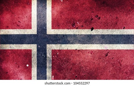 Norway flag painted on old wall background