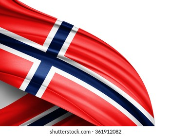 Norway  flag of silk with copyspace for your text or images and white background