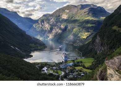 Norway Geiranger fjord - 10 August 2018 Ships in Geiranger Fjord from above