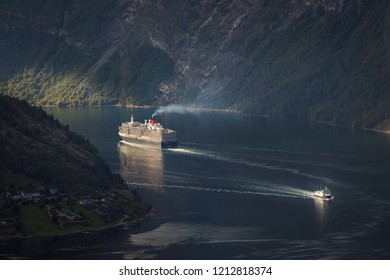 Norway Geiranger fjord- August 5,2018 Ships in Geiranger fjord