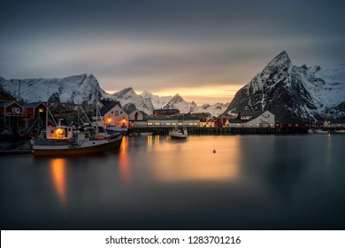 NORWAY - JANUARY 14: Lofoten village island night on Norway.  Norway is also known for fishing, hiking and skiing, notably at Lillehammer's Olympic resort