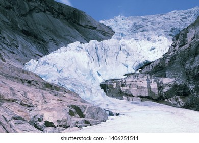 Norway, Jostedalsbreen National Park. Famous  Briksdalsbreen glacier in Briksdalen valley.