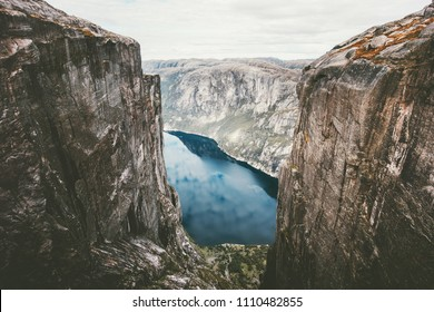 Norway Kjerag mountains rocks over fjord travel norwegian Landscape aerial view
