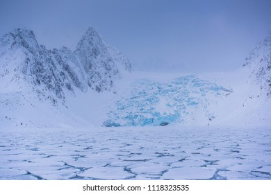 norway landscape ice nature of the glacier mountains of Spitsbergen Longyearbyen  Svalbard   arctic ocean winter  polar day sunset sky