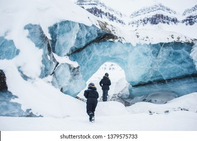 norway landscape ice nature of the glacier mountains of Spitsbergen Longyearbyen  Svalbard   arctic ocean ice winter  polar day East Coast