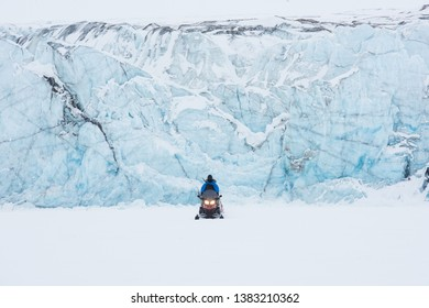 norway landscape ice nature of the glacier mountains of Spitsbergen Longyearbyen  Svalbard   arctic ocean winter  polar day East Coast with snowmobile
