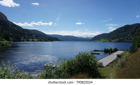 norway landscape lake with deck