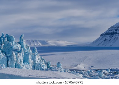 norway landscape nature of the glacier mountain of Spitsbergen Longyearbyen  Svalbard   arctic winter  polar sunshine day  sky
