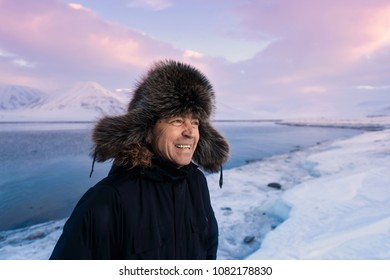 norway landscape nature of the mountain of Spitsbergen Longyearbyen  Svalbard  explorer  man  arctic winter  polar day sunset