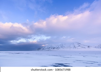 norway landscape nature of the mountain of Spitsbergen Longyearbyen  Svalbard   arctic winter  polar day sunset sky