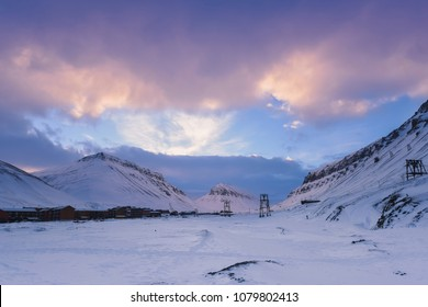 norway landscape nature of the mountains of Spitsbergen Longyearbyen  Svalbard   arctic winter  polar day sunset sky