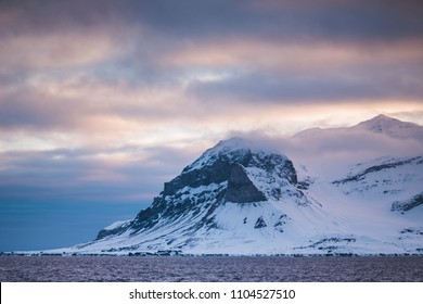 norway landscape nature of the mountains of Spitsbergen Longyearbyen  Svalbard   arctic ocean winter  polar day sunset sky