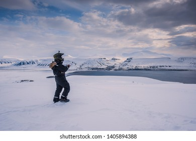 norway landscape nature of the mountains of Spitsbergen Longyearbyen  Svalbard   arctic ocean winter  polar day sunset sky