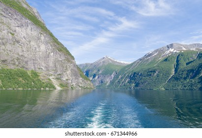 Norway Landscape.   Reflection of the mountains within a fiord