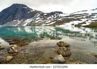 Norway landscapes. Beautiful mountainous landscape around Norwegian fjord in sunny day. Beautiful Nature Norway natural landscape. Norway lake Djupvatnet.