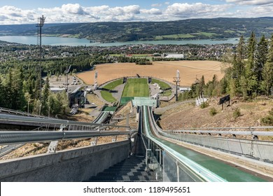 Norway, Lillehammer - August 13, 2018. Olympic ski jumping springboard in Lillehammer. Lillehammer's panorama. Lysgardsbakken, opened in 1993, specifically to the XVII Olympic Winter Games.