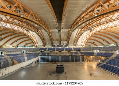 Norway, Lillehammer, Stampesletta - August 13, 2018. Interior of the Olympic Stadium with wooden structures. Hakons Hall is regularly used for handball and ice hockey tournaments and concerts