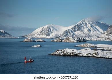 Norway Lofoten Fisherboat Winter