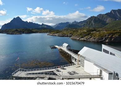 Norway Lofoten Kabelvag bay with building