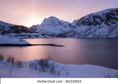 Norway lofoten winter landscape