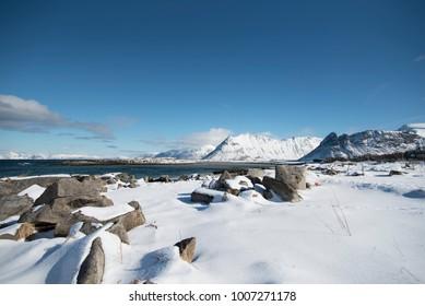 Norway Lofoten Winter snow Seaview