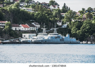 Norway, Mandal - August 8 2010: Former minehunter KNM Oksøy M340 and minesweeper KNM Glomma M354 of the Norwegian Navy laid up in Kleven.