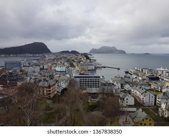, NORWAY MARCH 28 2019 Beautiful view of the Aalesund city