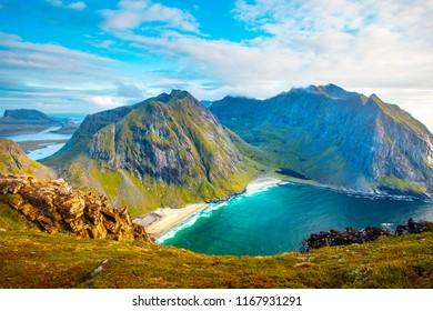 Norway. Mountain landscape with fiord at the sunset. Autumnal nature of lofoten islands. September in Norway. Fall scene.