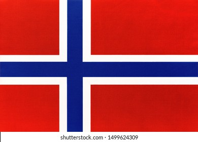 Norway national fabric flag, textile background. Symbol of international world european scandinavian country. State norwegian official sign.
