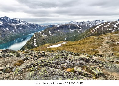 Norway nature - Jotunheimen National Park. Besseggen ridge trail between two lakes (Gjende and Bessvatnet). Oppland county landscape.