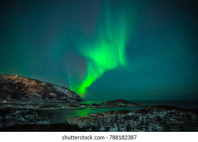 In Norway, the night sky becomes magical thanks to the northern lights, aurora borealis wonderful