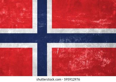 Norway - Norwegian Flag on Old Grunge Texture Background
