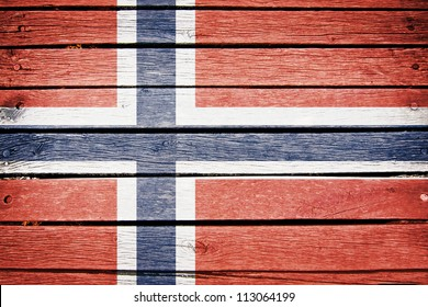 norway, norwegian flag painted on old wood plank background