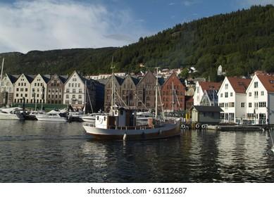 Norway, old part of Bergen named Bryggen