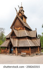 The Norway old  wooden church and cemetery