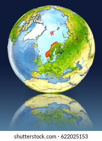 Norway on globe with reflection. Illustration with detailed planet surface. Elements of this image furnished by NASA.