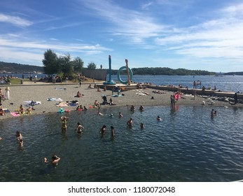 Norway, Oslo, 23 July 2018: Modern area known as Barcode Project under construction in the center of Oslo