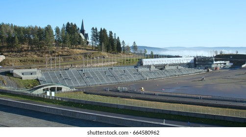 Norway, Oslo, Holmenkollen, panorama of the biathlon stadium