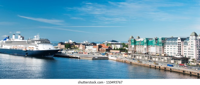Norway. The Oslo skyline and harbor with cruise ship