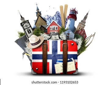 Norway, retro suitcase with hat and Norwegian attractions
