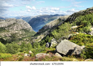 Norway, Rogaland county. Beautiful view of Norwegian nature from the trail to Preikestolen.