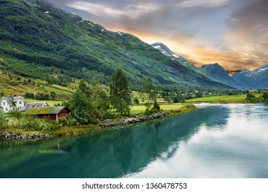 Norway, rural lake landscape, Olden