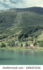 Norway, Sogn of Fjordane county. Rural architecture next to Nordfjord in Olden.